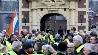Yellow vest protesters in The Hague, the Netherlands