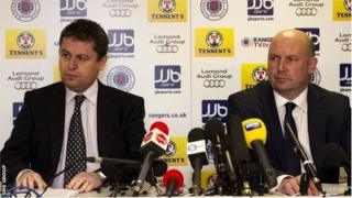 Administrators David Whitehouse (left) and Paul Clark prepare to address the media