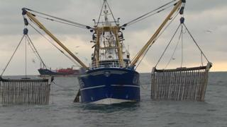 A trawler with pulse fishing gear fitted