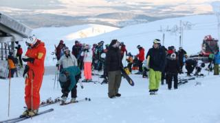 Skiers at CairnGorm Mountain