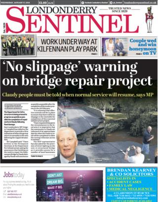 Londonderry Sentinel front page