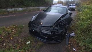 Smashed up Porsche