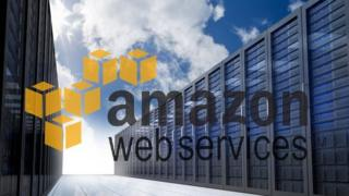 Amazon Web Services logo over image of servers