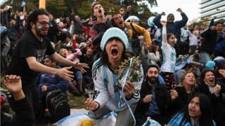 Hinchada en Buenos Aires.