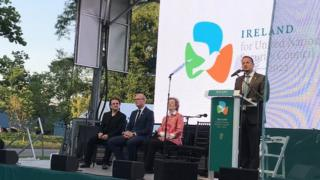 Leo Varadkar speaking at the launch of Ireland's bid
