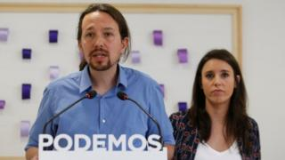 Pablo Iglesias and Irene Montero attend a press conference regarding the purchase of a house in Madrid, Spain, May 19, 2018