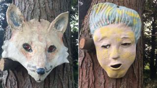 Faces created to deter people from fly tipping