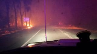 A supplied Waroona Police image of the bushfires in Western Australia