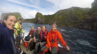 The RSPB team leaving Gough Island for Ascension Island
