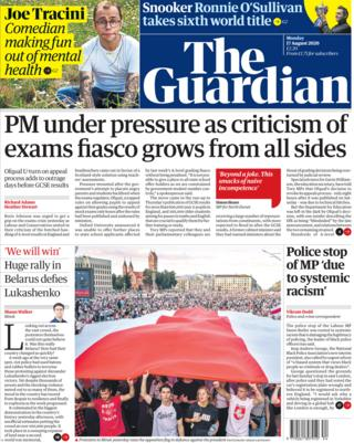 The Guardian front page 17 August 2020