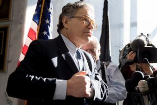 Democratic Senator Al Franken takes questions after making a statement regarding alleged sexual misconduct on Capitol Hill in Washington, 27 November