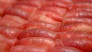 Stacks of salmon sushi