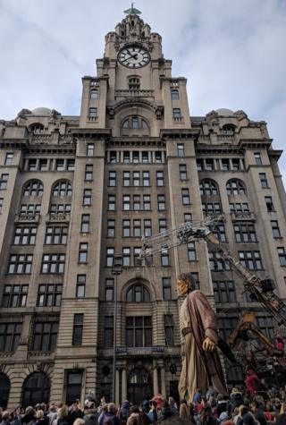 giant strides in front of Liver Bird building