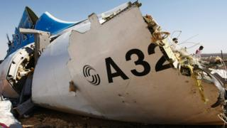 A piece of wreckage of Russian Metrojet Airbus A321 at the site of the crash in Sinai, Egypt (1 November 2015)