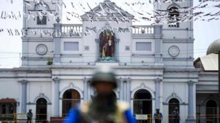 "Soldiers stand guard outside St. Anthony""s Shrine in Colombo on April 25, 2019, following a series of bomb blasts"