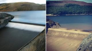 Llyn Brianne full and after heatwave