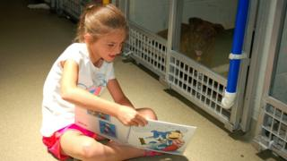 child reads to dog