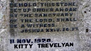 Kitty Trevelyan's name on the memorial