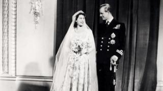 Princess Elizabeth (latterly Queen Elizabeth II) and Prince Philip, the Duke of Edinburgh, pose for their official wedding photo at Buckingham Palace, on November 20th 1947.