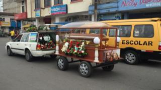 Funeral cortege for victim of Ecuador earthquake - 18 April 2016