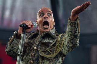 Till Lindemann performing during a Rammstein gig