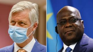 King Philippe of Belgium, left, and President Felix Tshisekedi of DR Congo
