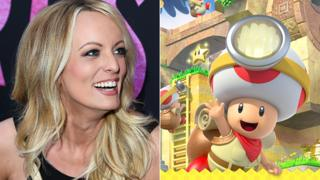 Stormy Daniels and Toad from Super Mario