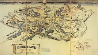 خريطة لمجمع ديزني لاند الترفيهي في كاليفورنيا
