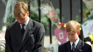 Princes William and Harry at Diana's funeral