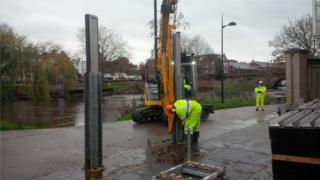Frankwell flood barriers being erected
