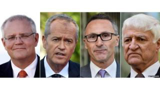 (L-R) Scott Morrison, Bill Shorten, Richard Di Natale, Bob Katter