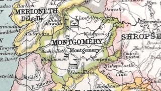 Map of the old county of Montgomeryshire