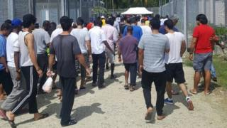 Refugees and asylum seekers at the Australian-run centre in Papua New Guinea