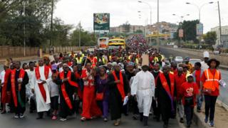 Kenyan Catholic worshippers attend a Good Friday procession in Nairobi