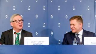 The Prime Minister of the Slovak Republic Robert Fico, right, and the President of the European Commission Jean-Claude Juncker, attend a press conference in Bratislava Friday July 1, 2016.