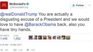 تغريدة ماكدونالدز