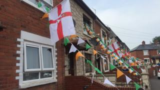 Flags on a west Belfast street