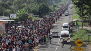 The migrant caravan walks north from the city of Ciudad Hidalgo