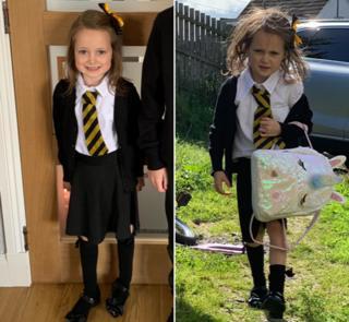 Lucie antes y después de la escuela.