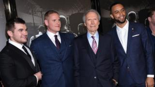Alek Skarlatos, Anthony Sadler, Clint Eastwood and Spencer Stone at California premiere Feb 5