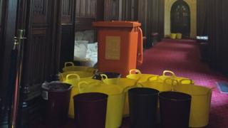 Buckets to contain leaks in the House of Lords