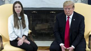 US President Donald Trump meets Fabiana Rosales, wife of Venezuelan opposition leader Juan Guaidó, in the Oval Office of the White House in Washington DC, 27 March 2019