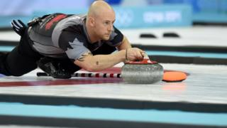 Ryan Fry curling at the Sochi 2014 Winter Olympics