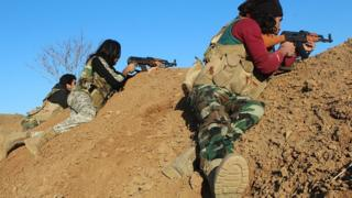 Opposition groups clash with so-called Islamic State (IS) terrorists in Aleppo's Harcele Village