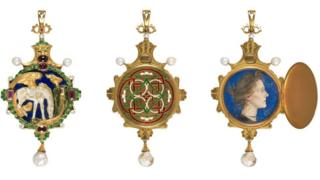 Charles Ricketts' hinged enamelled gold pendant for Katherine Bradley and Edith Cooper