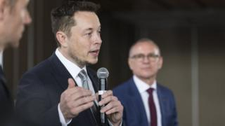 Tesla chief Elon Musk speaks following the announcement in Adelaide