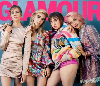 Glamour Magazine cover featuring Lena Dunham and the cast of Girls