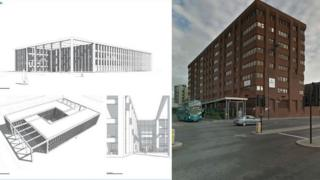 Sketch of new police HQ and photograph of Canning Place HQ