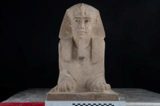 The sandstone statue of a sphinx that was discovered in the Temple of Kom Ombo Temple in Aswan (16 September 2018)