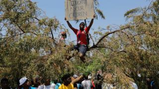 Student protesters in Pretoria, South Africa - 23 October 2015